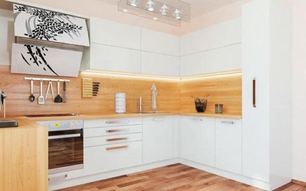 cocinas-blancas-con-encimera-de-madera-y-entrepaño