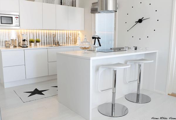 cocinas-blancas-pequeñas-reloj