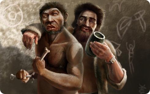 Neandertal y Homo sapiens, ilustración de Tomas Ciucelis
