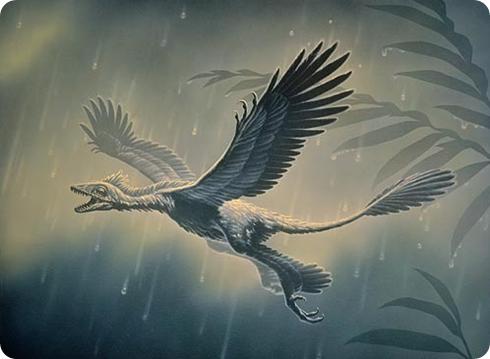 Dinosaurios volador, representación de un microraptor
