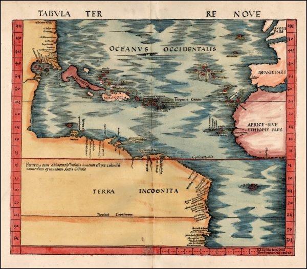 Primeros mapas cartográficos de la costa del Nuevo Mundo