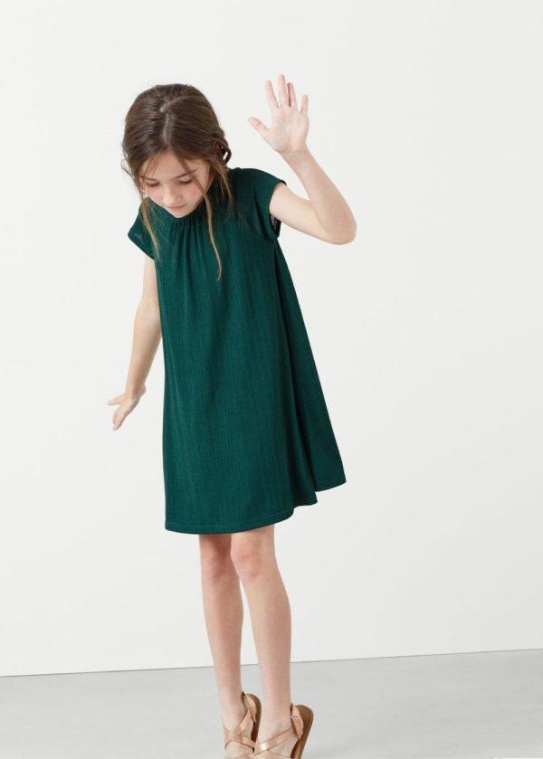 vestidos-de-fiesta-de-niña-otoño-invierno-2017-verde-sencillo