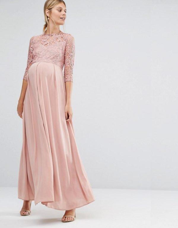 vestidos-de-fiesta-premama-otoño-invierno-2017-rosa-palo