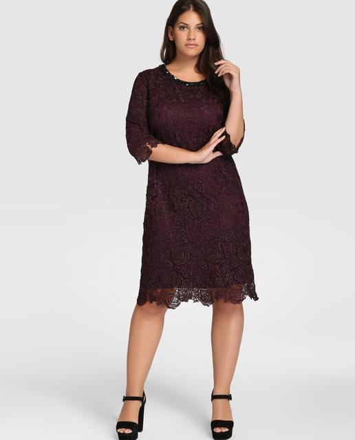 vestidos-de-fiesta-tallas-grandes-otoño-invierno-2017-encaje-marron