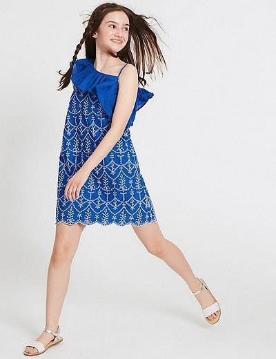 vestidos-de-fiesta-nina-cortos-bordados-azules-blancos-markandspencer