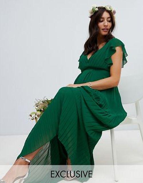 vestidos-de-fiesta-premama-plisado-dama-de-honor-verde-asos