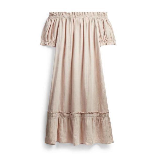 moda-primark-vestido-midi-doble-capa-tela-rosa-escote-barco