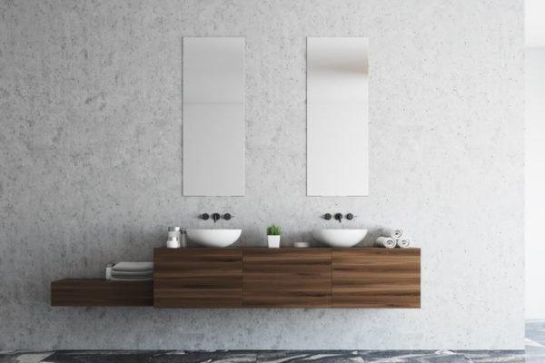 Como decorar una pared con espejos bano
