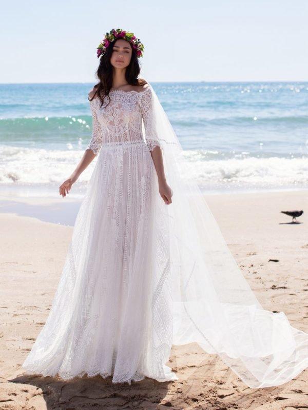 Vestido de novia boda civil tres cuertos