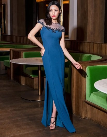 Vestido de fiesta largo azul Pronovias