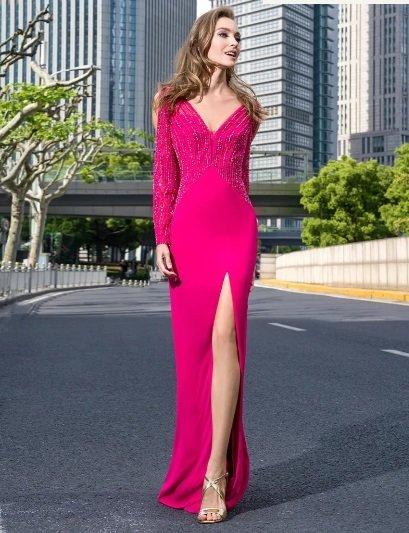Vestido de fiesta Pronovias rosa con pedrería