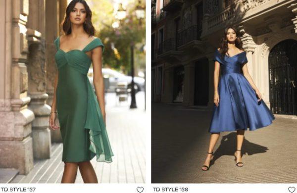Vestidos de fiesta cortos Pronovias verde y azul