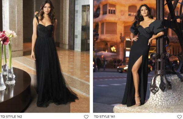 Vestido de fiesta largo negro Pronovias