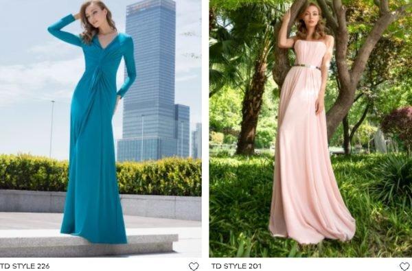 Vestidos de fiesta largos Pronovias azul y rosa