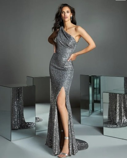 Vestido de sirena gris metalizado Pronovias