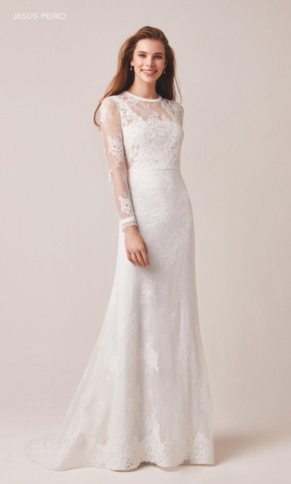 Vestido de novia con manga de encaje