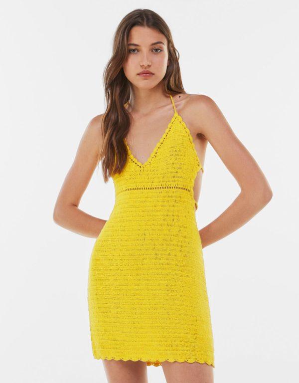 Bershka vestidos verano 2021 vestido crochet amarillo