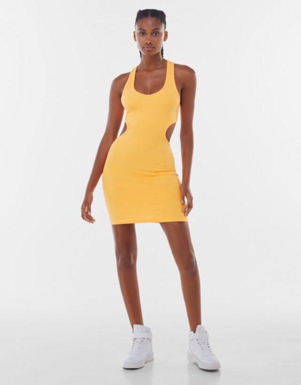 Bershka vestidos verano 2021 vestido cut out amarillo