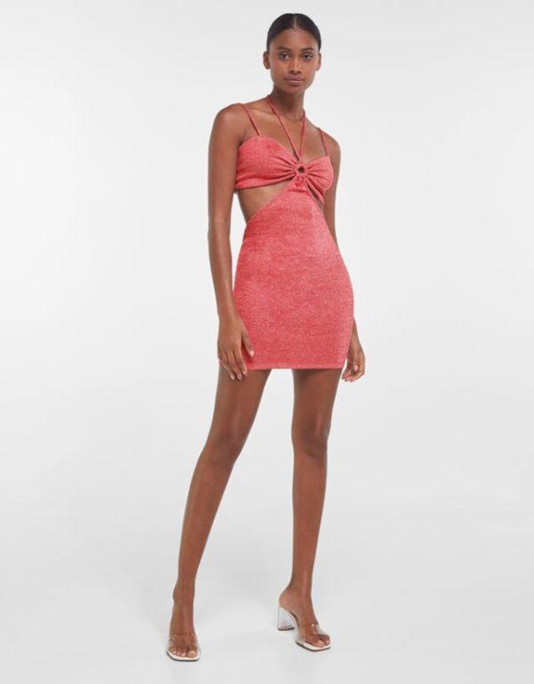 Bershka vestidos verano 2021 vestido cut out rojo