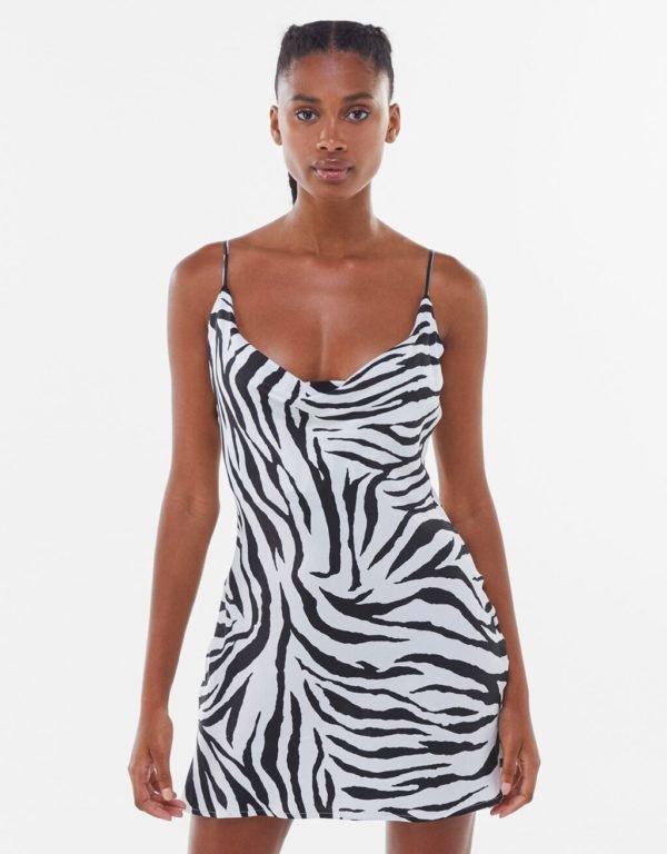 Bershka vestidos verano 2021 vestido estampado animal print