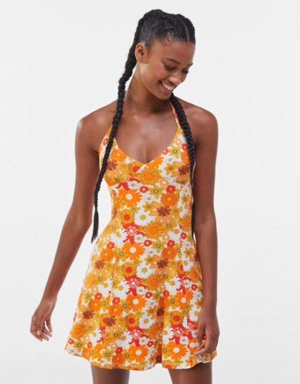 Bershka vestidos verano 2021 vestido estampado flores