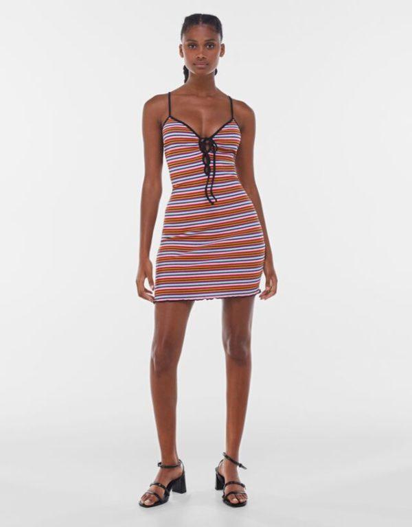 Bershka vestidos verano 2021 vestido estampado rayas