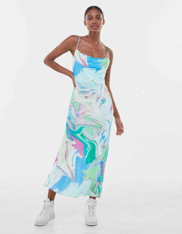 Bershka vestidos verano 2021 vestido largo estampado