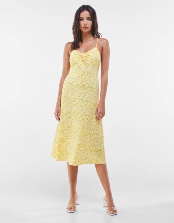 Bershka vestidos verano 2021 vestido midi bambula