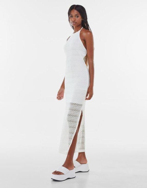 Bershka vestidos verano 2021 vestido midi cuello halter crochet