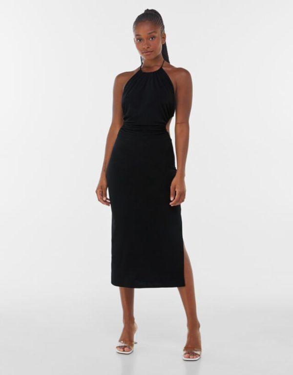 Bershka vestidos verano 2021 vestido midi cuello halter negro