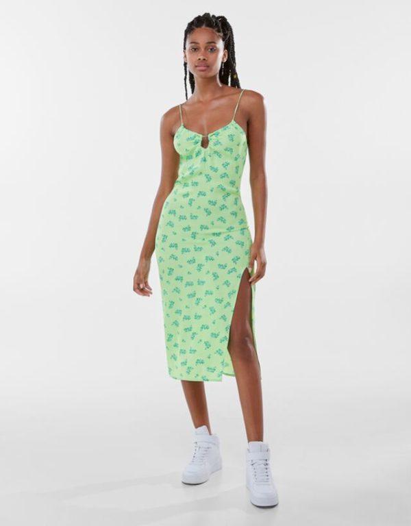 Bershka vestidos verano 2021 vestido midi flores