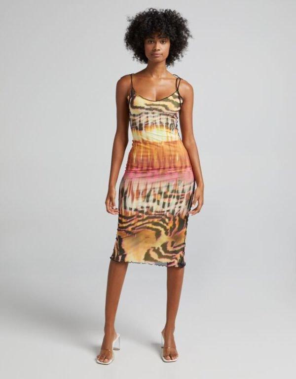 Bershka vestidos verano 2021 vestido midi tirantes