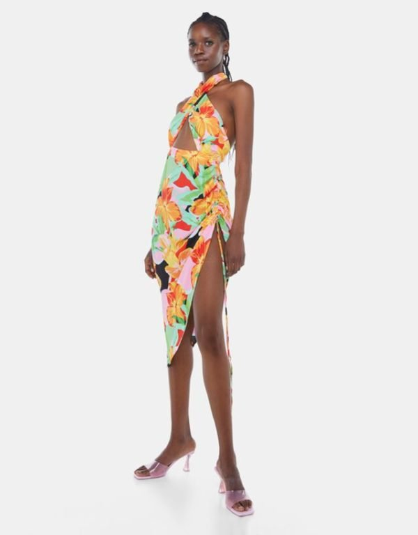 Bershka vestidos verano 2021 vestido midi tropical