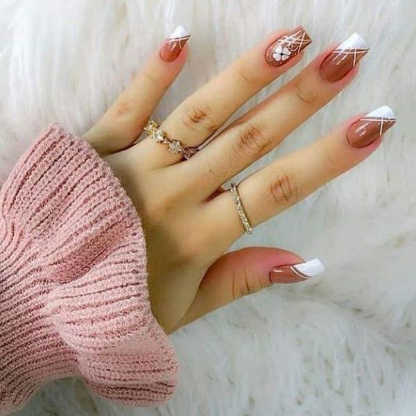 dibujos-para-pintar-unas-blanco-y-marron-flor-instagram