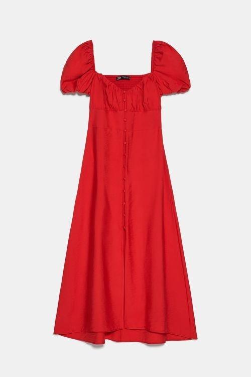 vestidos-de-fiesta-zara-2020-midi-botones-rojo