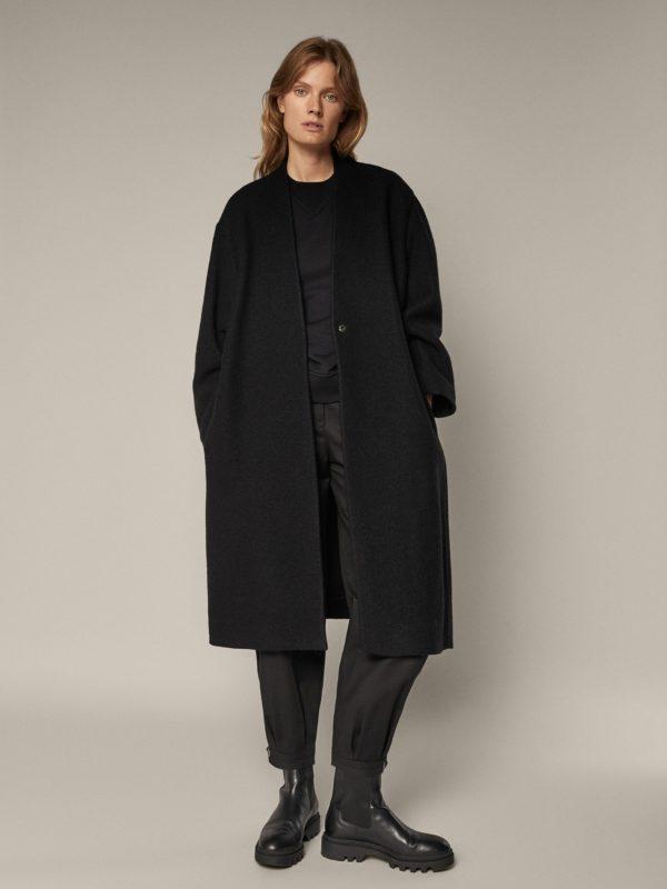 REBAJAS MASSIMO DUTTI invierno 2021 abrigo lana negro cinturon