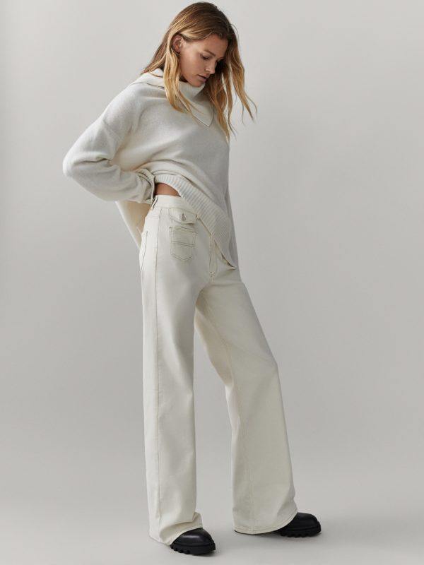 REBAJAS MASSIMO DUTTI invierno 2021 pantalon tejano recto blanco