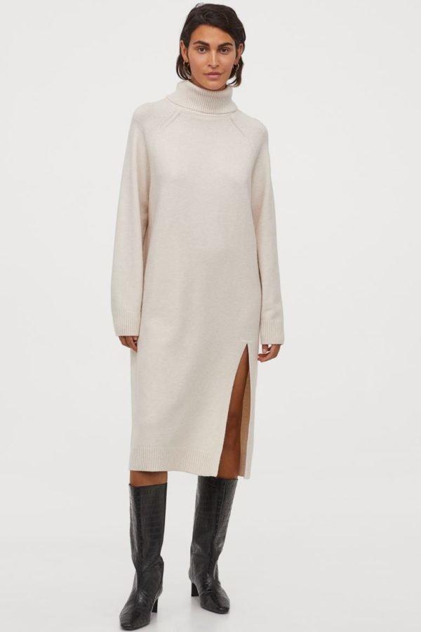 Rebajas H&M invierno 2021 vestido punto blanco