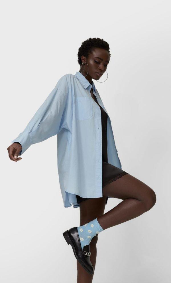 REBAJAS STRADIVARIUS primavera verano 2021 camisa oversize popelin