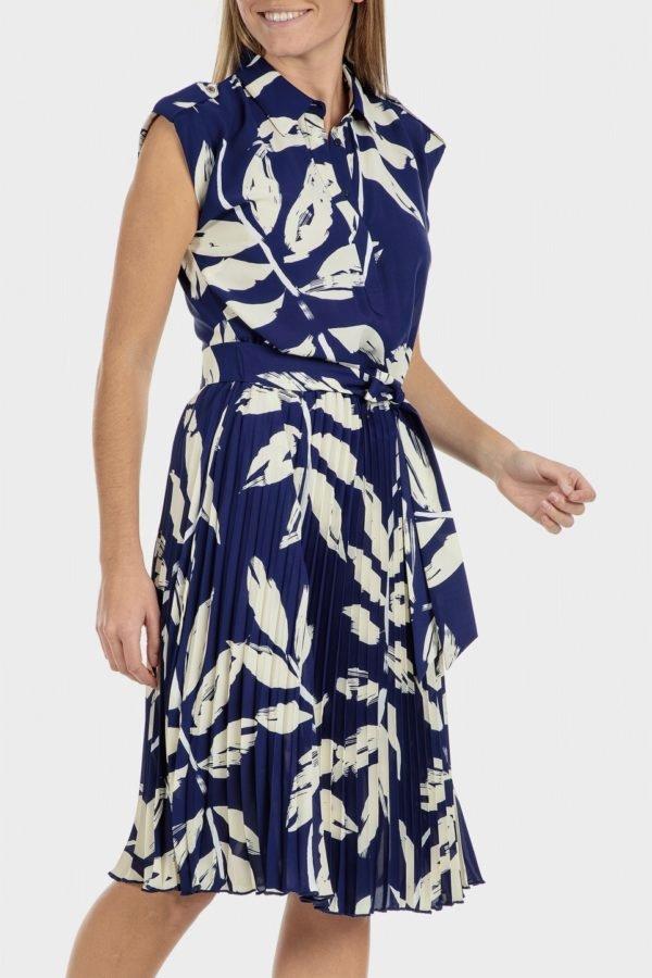 Catalago verano punto roma vestido plisado azul