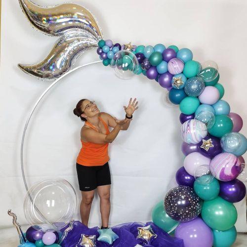 Montaje photocall con globos y figura de pez