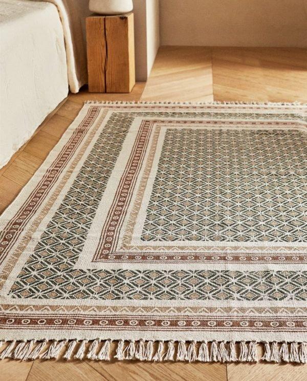 REBAJAS ZARA HOME VERANO 2021 alfombra estampado geometrico