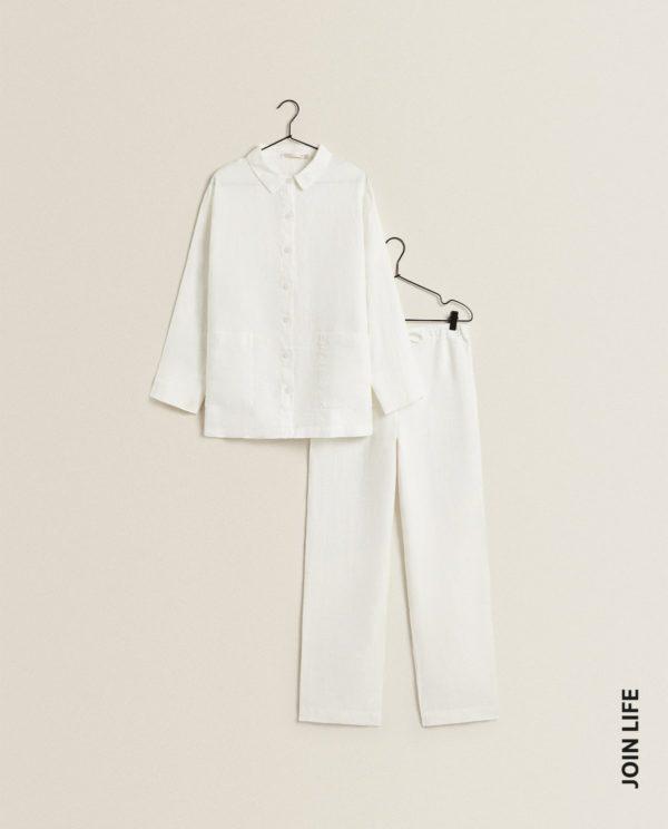 REBAJAS ZARA HOME VERANO 2021 pijama lino blanco