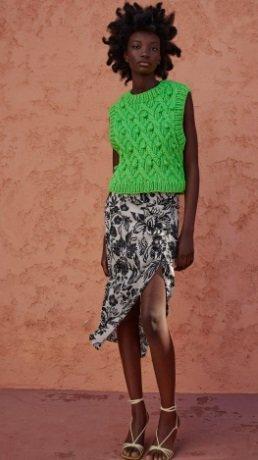 Falda drapeada estampada Zara