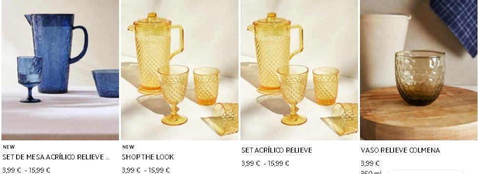 Set acrílico vasos Zara Home