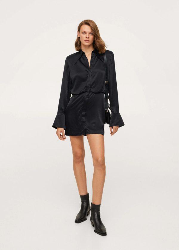 Vestidos de fiesta otoño invierno 2021 2022 modelo camisero negro mango