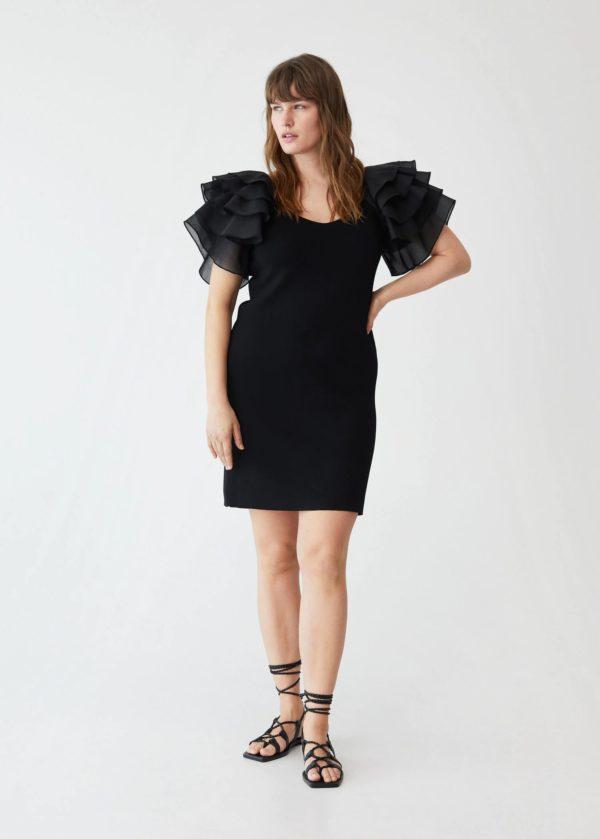 Vestidos gorditas la primavera verano MANGO VIOLETA vestido negro manga volantes