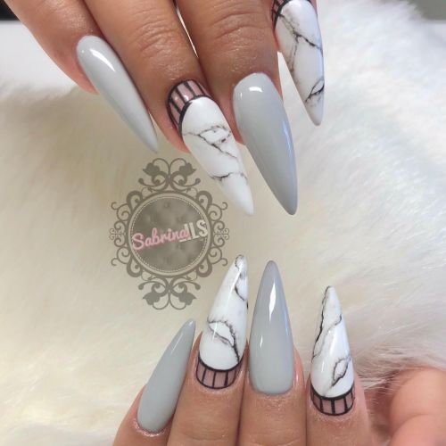 Uñas gris mármol