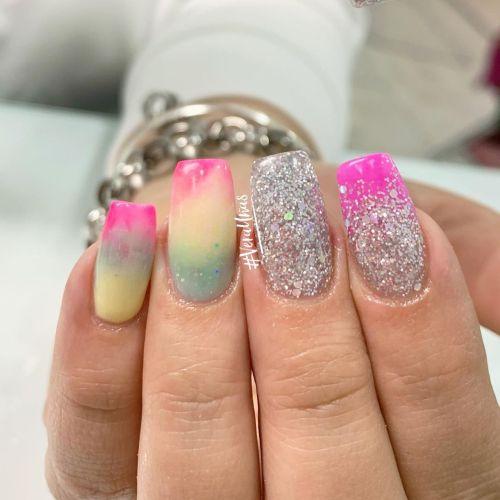 Uñas arcoíris plata