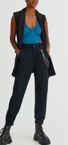 Pantalón cadena y bolsillo lateral de mujer Pull and Bear